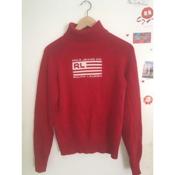 d8f75b8b7789 Ralph Lauren Tops | Red Turtleneck Sweater | Poshmark